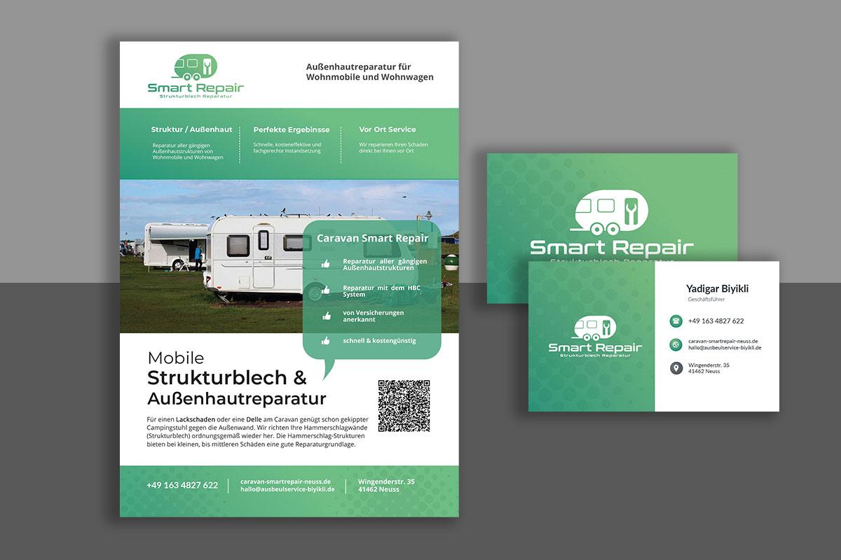 Flyer & Visitenkarte // Caravan Smart-Repair in Neuss